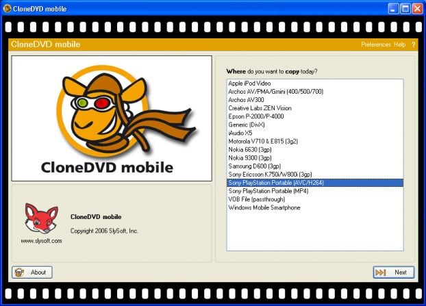 SlySoft CloneDVD Mobile v1.1.5.0