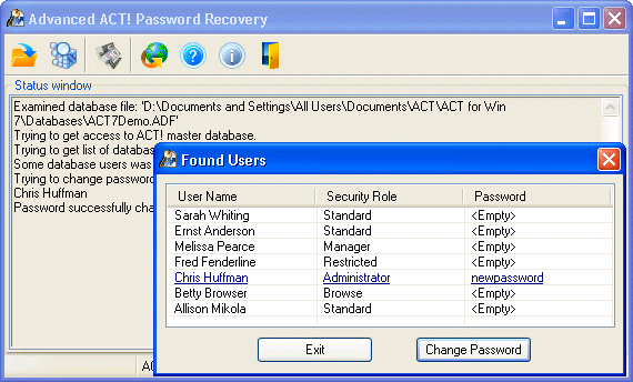 Advanced ACT Password Recovery v2.35